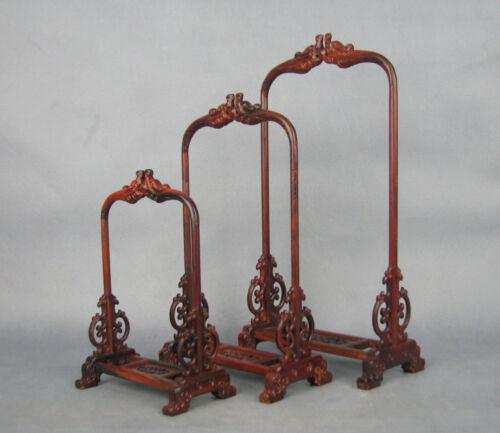 1 set Chinese suanzhi wood rosewood dragon figure pendant stand shelf display