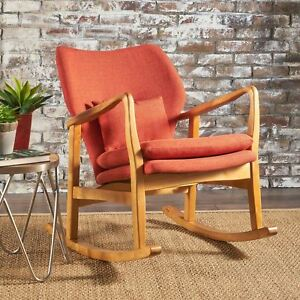 Swell Details About Balen Mid Century Modern Fabric Rocking Chair Alphanode Cool Chair Designs And Ideas Alphanodeonline