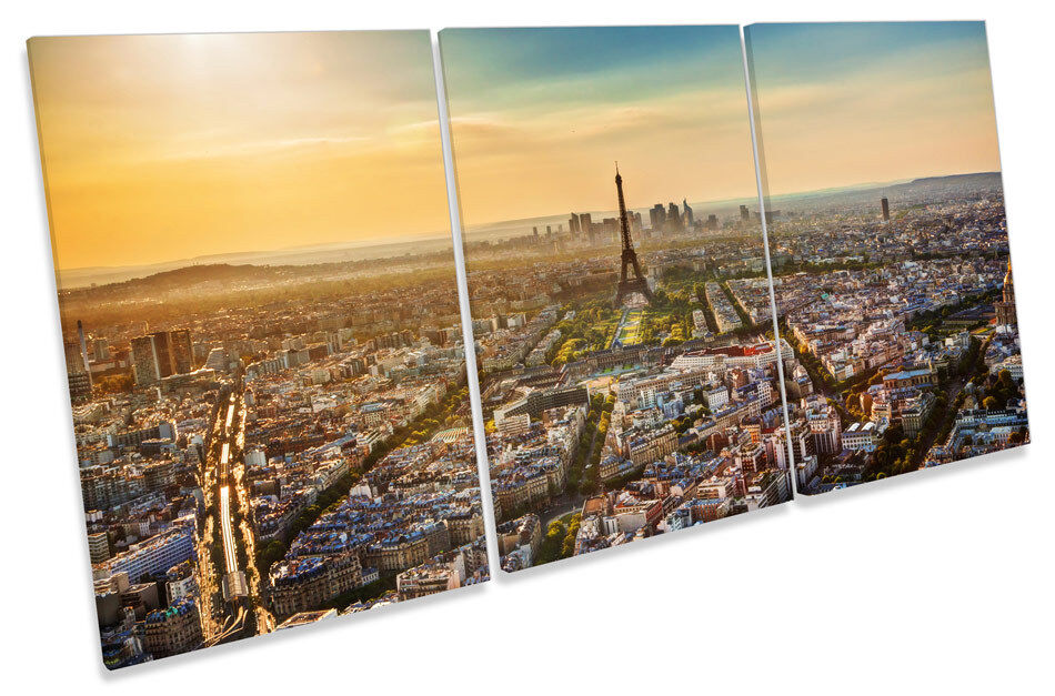 Eiffel Tower Sunset Paris City TREBLE CANVAS WALL ART Print Picture