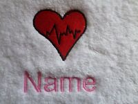 HEART BEAT Embroidered onto Towels, Bath Robes, Hooded with Personalised name