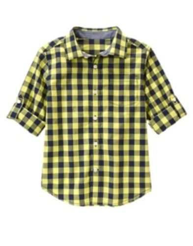 GYMBOREE BOARDWALK PREP LIME GREEN PLAID ROLL-UP WOVEN L//S SHIRT 4 5 6 NWT