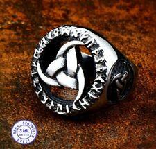 Stainless Steel Triskelion Odin/'s Horn Viking Square Biker Style Signet Ring