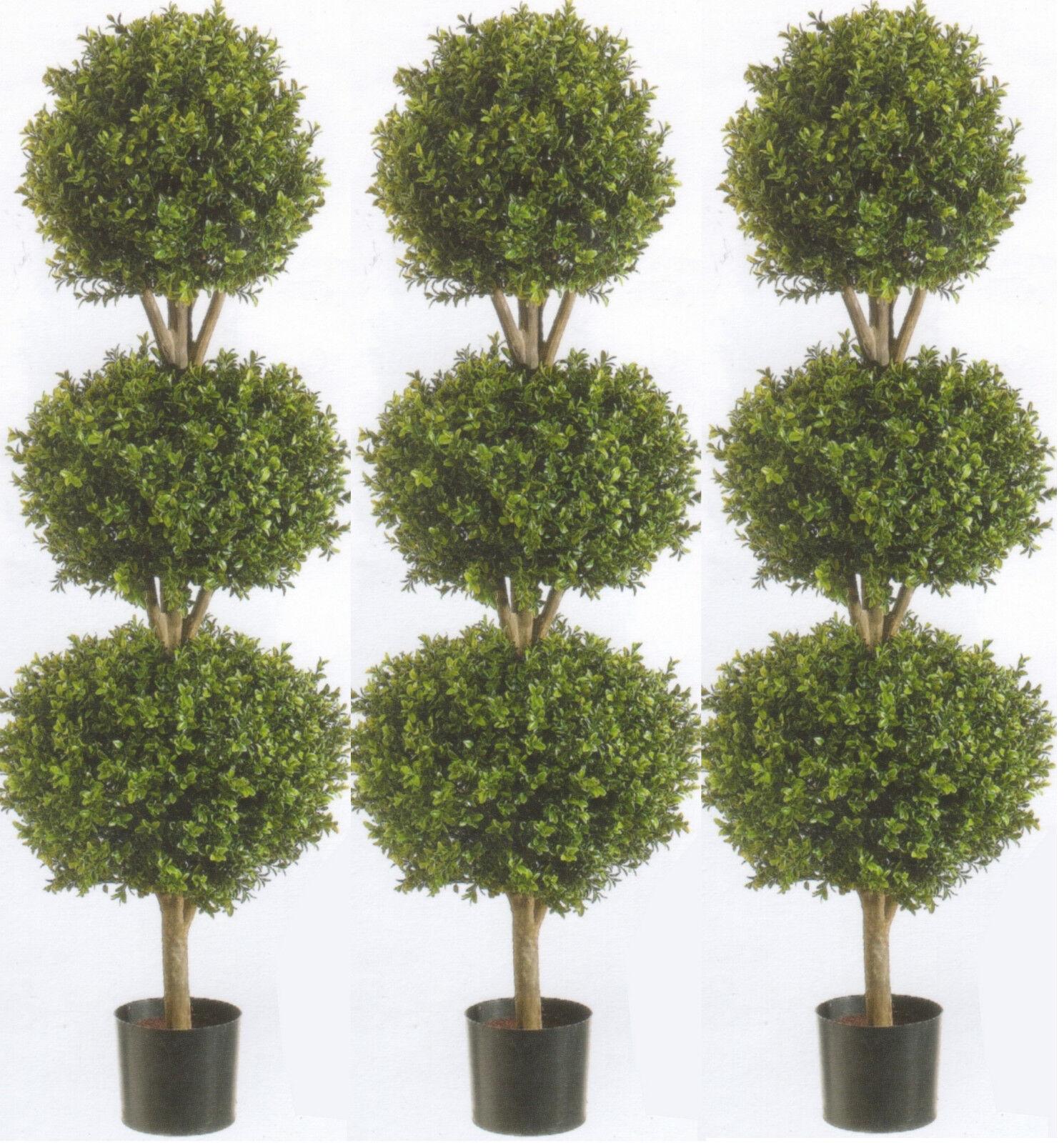 3 Artificial 56  Boxwood 3 Ball Bush Outdoor UV Topiary Tree 5 Fake 4' 8  Patio