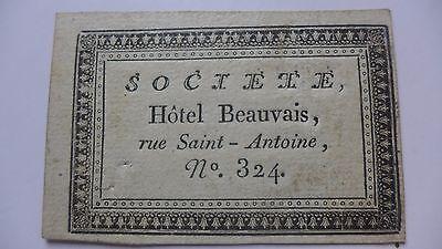 Carte De Visite Ancienne Societe HOTEL BEAUVAIS Rue Saint Antoine