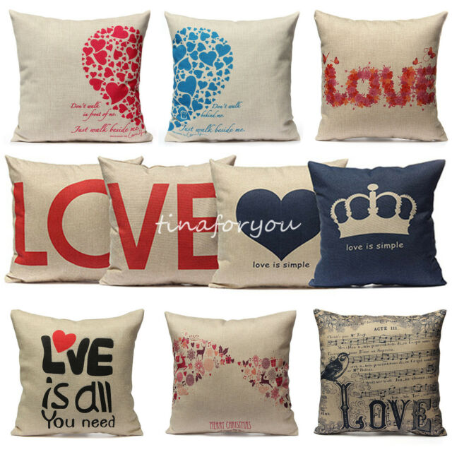 Home Love Heart Couple Throw Decorative Cotton Linen Pillow Case Cushion Cover