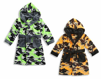 Boys Army Camouflage Dressing Gown Robe With Hood Green Orange Ages 2 3 4 5 6