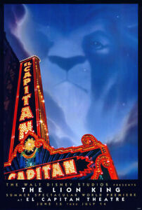 The Lion King 1994 Original Movie Poster El Capitan Theatre S Sided Rolled Ebay