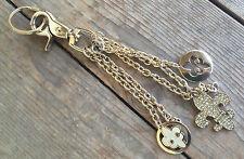 QVC #9 Kathy Ireland Key Ring Chain Gold Tone Metal Fleur de Lis Vintage Charms
