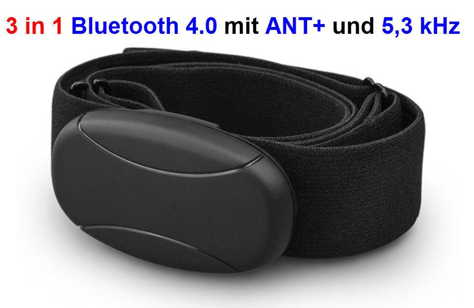 BRUSTGURT mit blueETOOTH mit ANT+ und 5,3 kHz für WAHOO App, für ANDROID