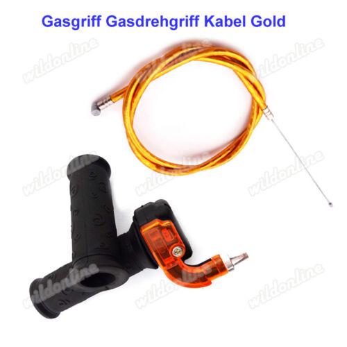 Gasgriff Gasdrehgriff Kabel Gold für Mini Moto Dirt Pocket Bike Kids ATV Quad
