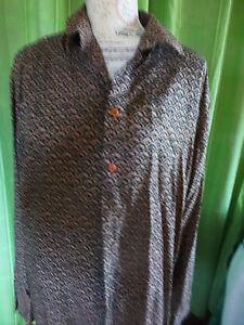 mixte-chemise-imprime-taupe-noir-TXL-viscose
