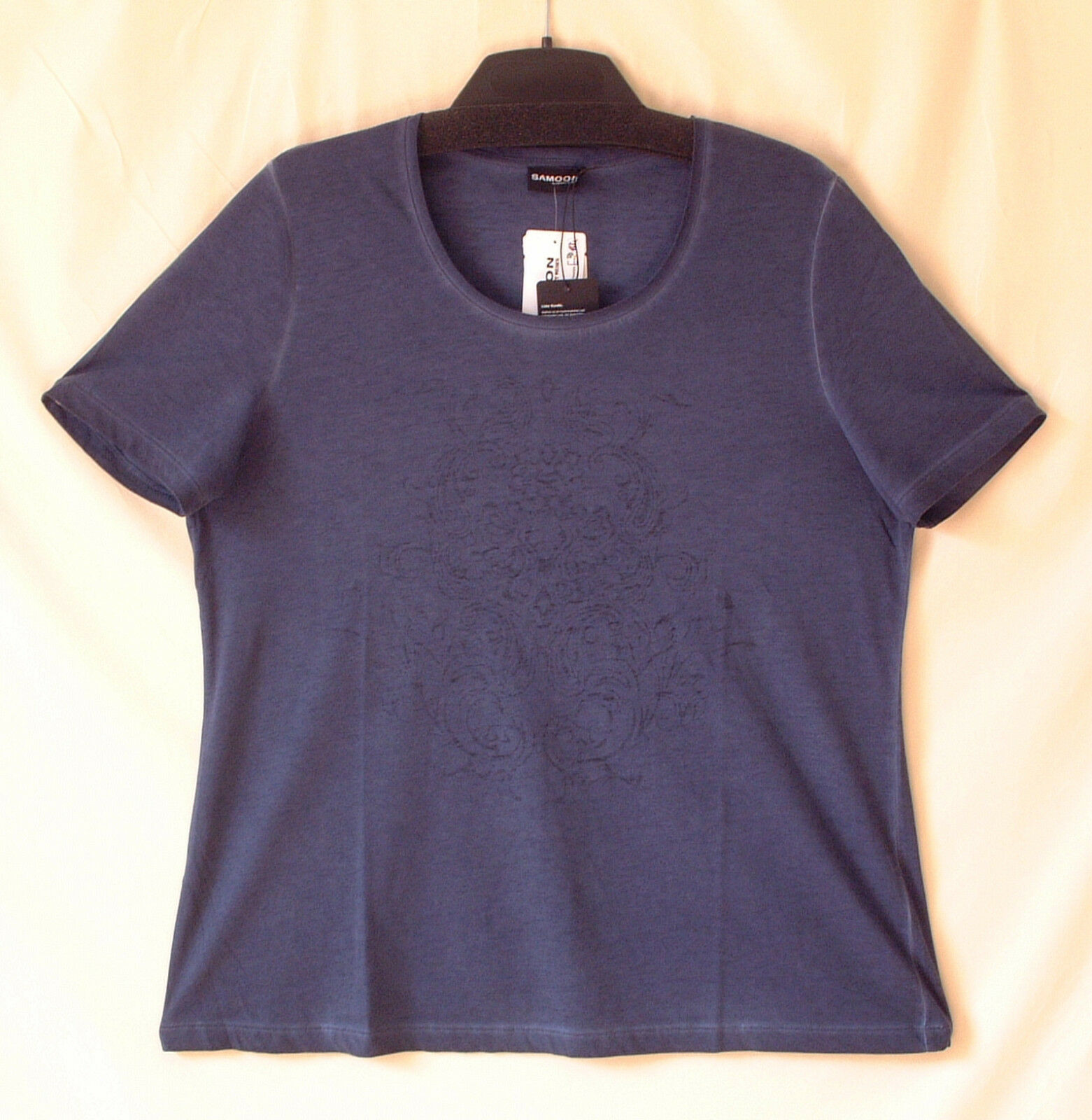 Samoon Shirt Gerry Weber blau Feminines Shirt mit Ausbrenner-Motiv Damen Gr.54