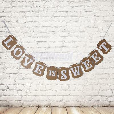 Rustic LOVE IS SWEET  Party Sign Wedding Bunting Banner Garland Photo Props