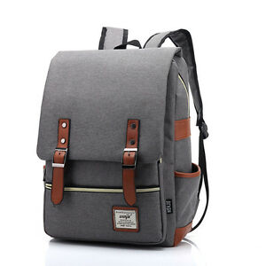 Women-Men-Canvas-Backpack-School-Laptop-Travel-Rucksack-Satchel-Shoulder-Bag