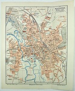 Original 1895 City Map of Hannover Germany by Meyers eBay