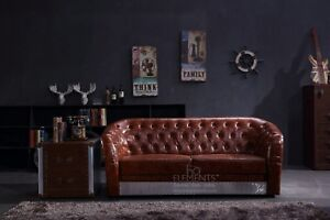 3 Seater Sofa Industrial Aviation Vintage Whisky Brown PU BiCast ...