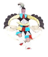 Zuni Sterling Silver Multi-stone Eagle Dancer Inlay Bracelet -jonathan Beyuka