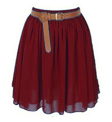 Maroon Mini Skirt Women Girl Chiffon Short Dress Pleated Retro Elastic Waist