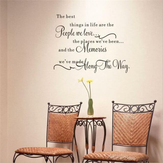 Quote Word Decal Vinyl Home Room Decor Art Wall Stickers Bedroom Removable W