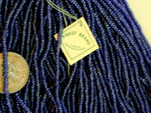 Vintage Antique Navy Blue RARE STUNNING COLOR Czech Glass Seed Beads LargerHank