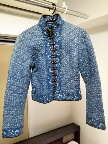 ANOKHI Ladies Vintage Quilted Jacket Blue Size 34