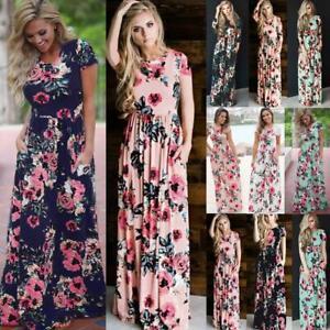 UK-Womens-Loose-Maxi-Sundress-Pleated-Holiday-Ladies-Elastic-Wasit-Long-Dress