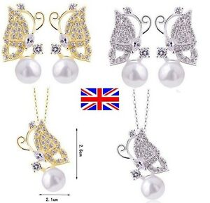 UK-Stock-Free-P-amp-P-New-Butterfly-Pearl-Pendant-Necklace-Earrings-Stud-Set-355