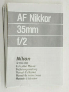AF-Nikkor-35mm-F-2-Instruction-Manual-Used-B210B