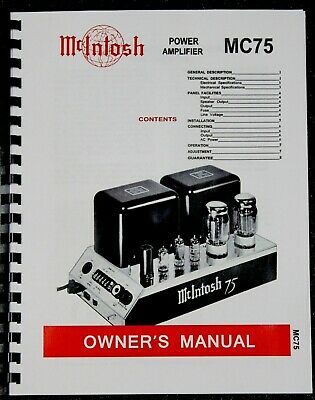 SERVICE MANUALS *USA* ULTIMATE MCINTOSH MC75 OWNER/'S INSTRUCTION