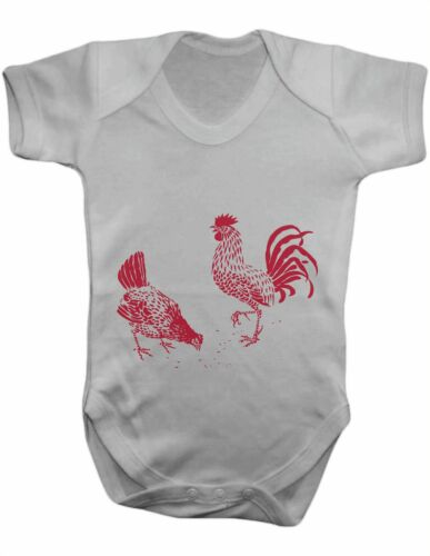 Baby Vest-Baby Grow-Baby Bodysuit 100/% Cotton Baby One Piece Hen and Rooster