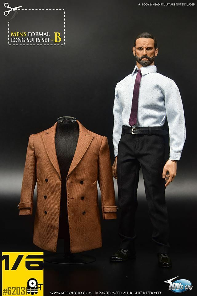 Toy's City 1 6 Scale Men's Formal Long Suit Set (Brown) for 12  figs TCT-62031B