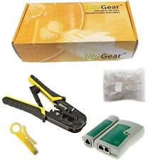 UbiGear Network Tester + Crimp Crimper + 100 RJ45 CAT5e Connector Plug Tool Kits