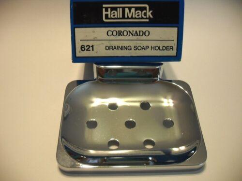 Vtg NOS CHROME SOAP DISH Holder w// drain holes Wall Mount Hall-Mack Airstream