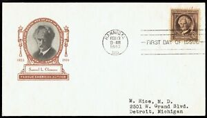 US-863-Samuel-Clemens-Mark-Twain-Feb-13-1940-Harry-Ioor-FDC-F863-1