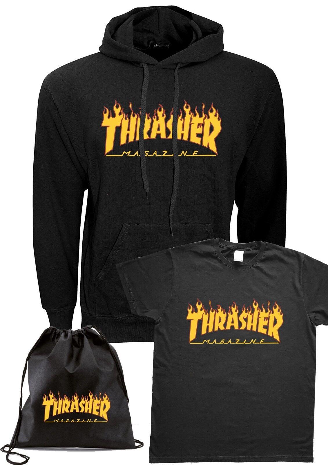T-shirt maglietta + felpa + sacca THRASHER MAGAZINE uomo uomo uomo donna bambino 15d564