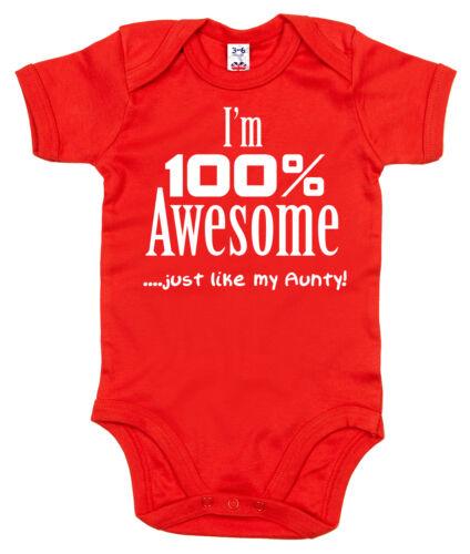 "Funny tante body /""je suis 100/% Génial comme ma tante/"" Baby Grow TANTE Cadeau"