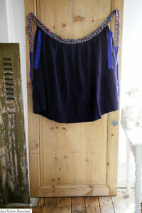 Vintage French wide smocked APRON work wear INDIGO provence c 1950