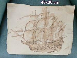Ancien Dessin De Bateau Navire Naval Signe Dupuy Ebay
