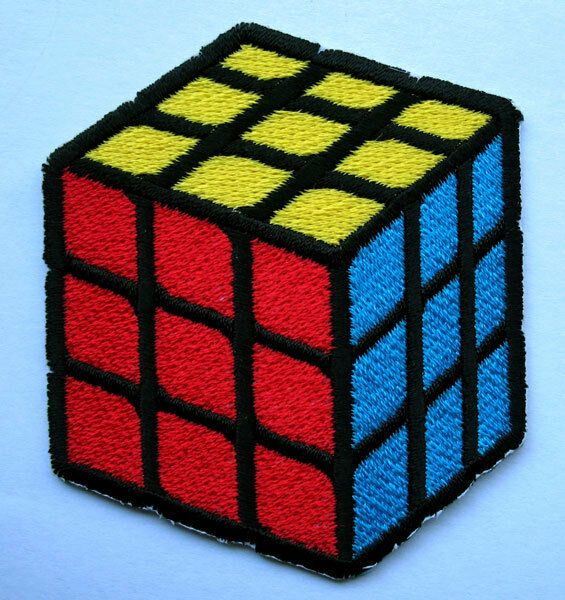 COLORFUL RUBIK CUBE Embroidered Iron on Patch Free Postage