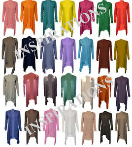 Womens-Ladies-Floaty-Waterfall-Cardigan-All-Colours
