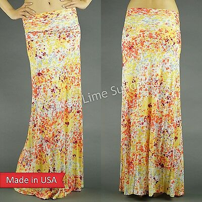 Flower Field Paint Fold Over Waist Floral Multi Color Print Long Maxi Skirt USA