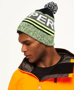 cbaff9c060c Image is loading New-Mens-Superdry-Redford-Logo-Beanie-Fluro-Lime-