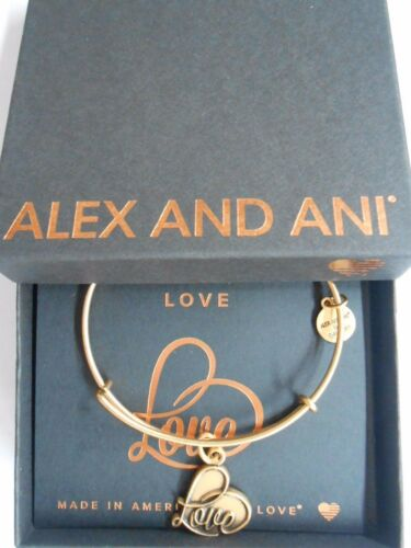 Alex and Ani LOVE IV Expandable Wire Bracelet Rafaelian Gold Finish NWTBC