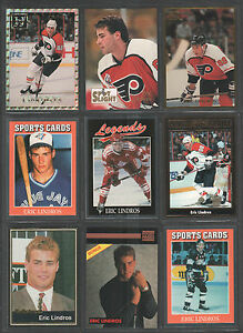 ERIC-LINDROS-Lot-of-9-Different-Oddball-Hockey-Trading-Cards-Rare