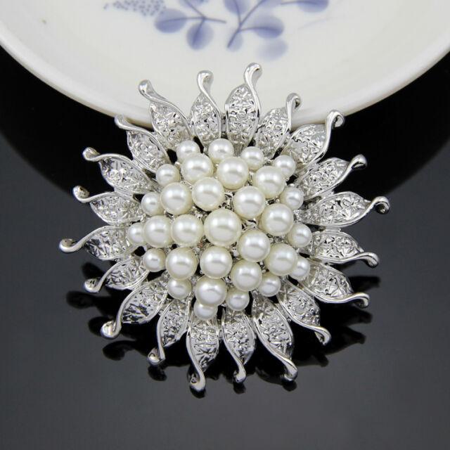 Pearl and Rhinestone Crystal Bridal Brooch
