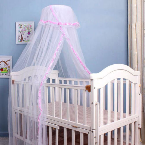 Baby Crib Mosquito Net Infants Nursery Bed Round Netting Dome Princess Canopy
