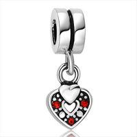 Hot Love Heart 925 silver sterling charm bead fits Snake european bracelet Chain