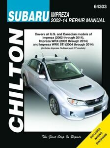 chilton repair manual 64303 subaru impreza 2002 2011 wrx 2002 rh ebay com 2011 subaru wrx service manual pdf 2011 WRX Service Manual