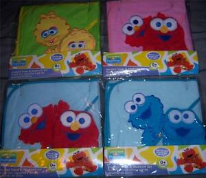 NEW-SESAME-STREET-HOODED-TOWEL-WITH-WASH-MITT-Elmo-Cookie-Monster-Big-Bird