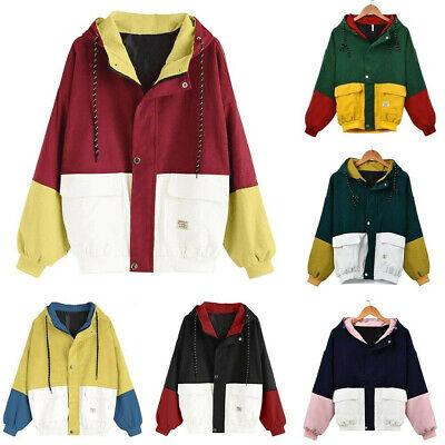 Women Winter Long Sleeve Corduroy Patchwork Oversize Jacket Outdoor Thermal Coat